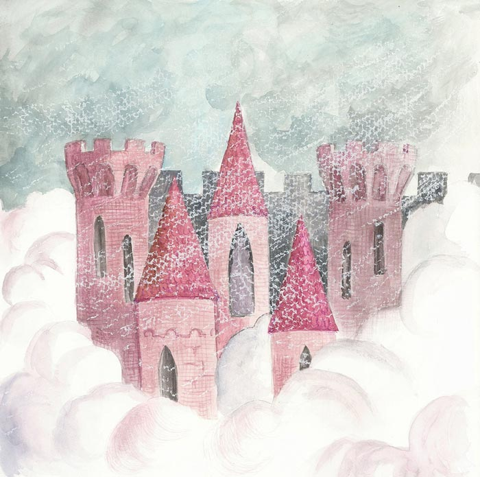 Castle of the winter, a fairy tale book illustration for children