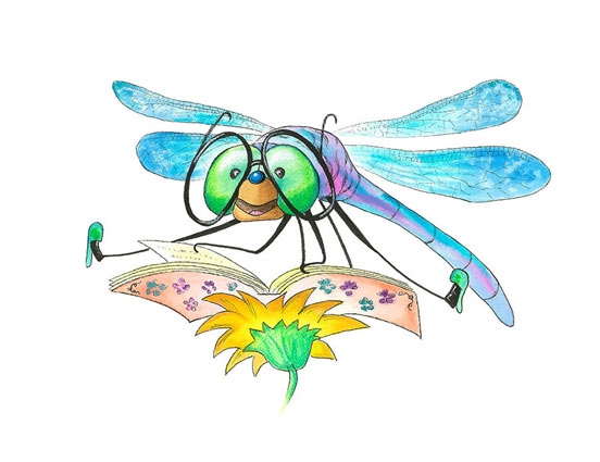 Dragonfly with glasses - a children's illustration