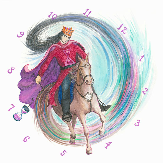 The King of Time riding a horse, illustration for a children's book