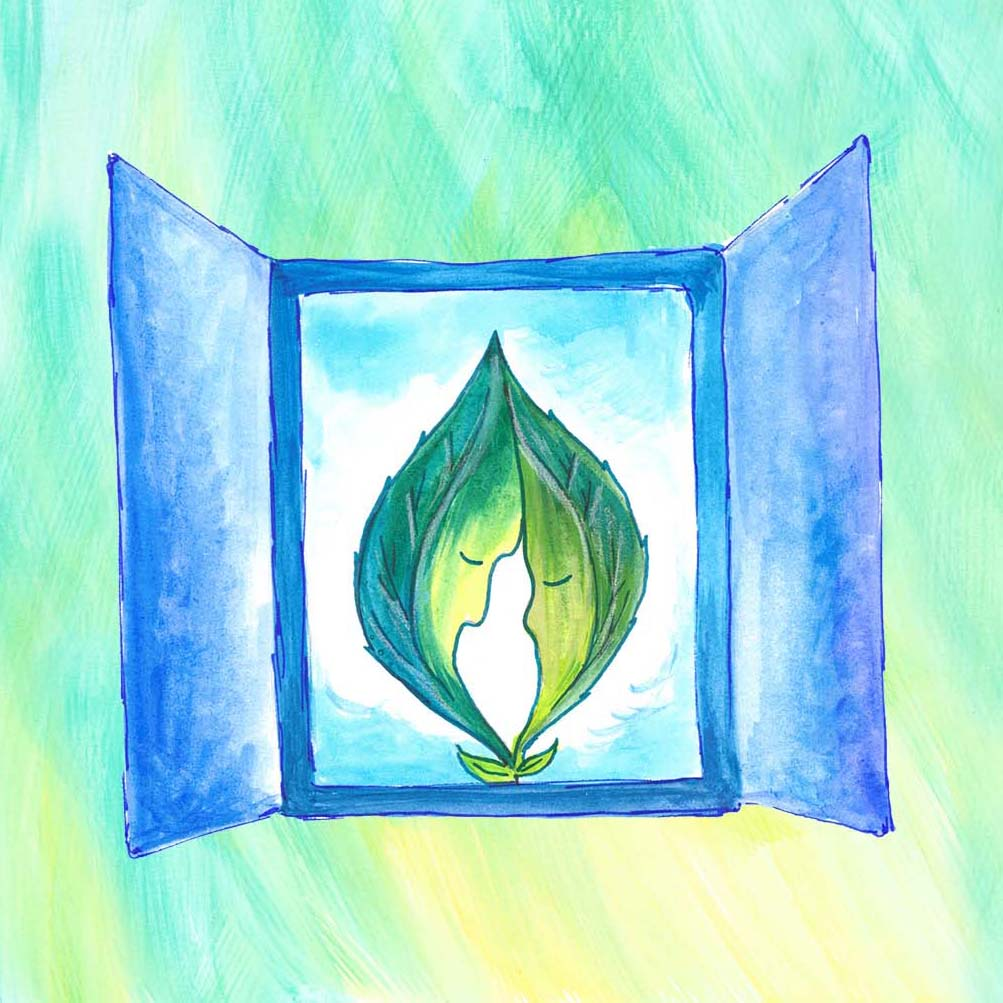 "Two leaves in a frame, a surreal illustration for the love poetry book ""Through the Heart's Eyes"", a collection of urban love poems for him or for her."
