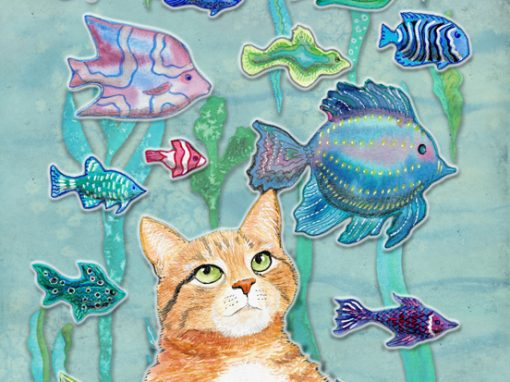 Cat contemplating colorful fish