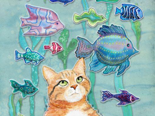 Cat contemplating colorful fish