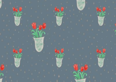 Tulips in a vase floral pattern