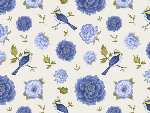 Blue birds and flowers 1