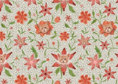 Kiki the cat floral pattern