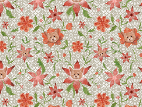 Kiki the cat floral pattern