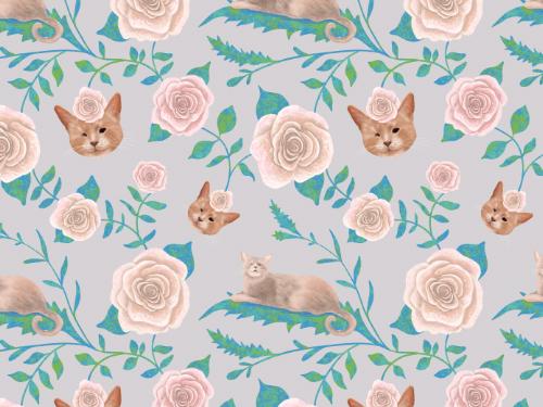 Kiki queen cat – floral pattern