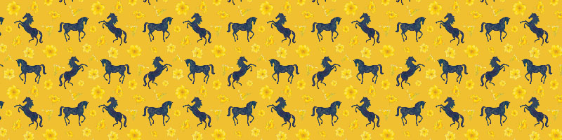 Decorative horse pattern for fabric, with yellow background and dark blue horses