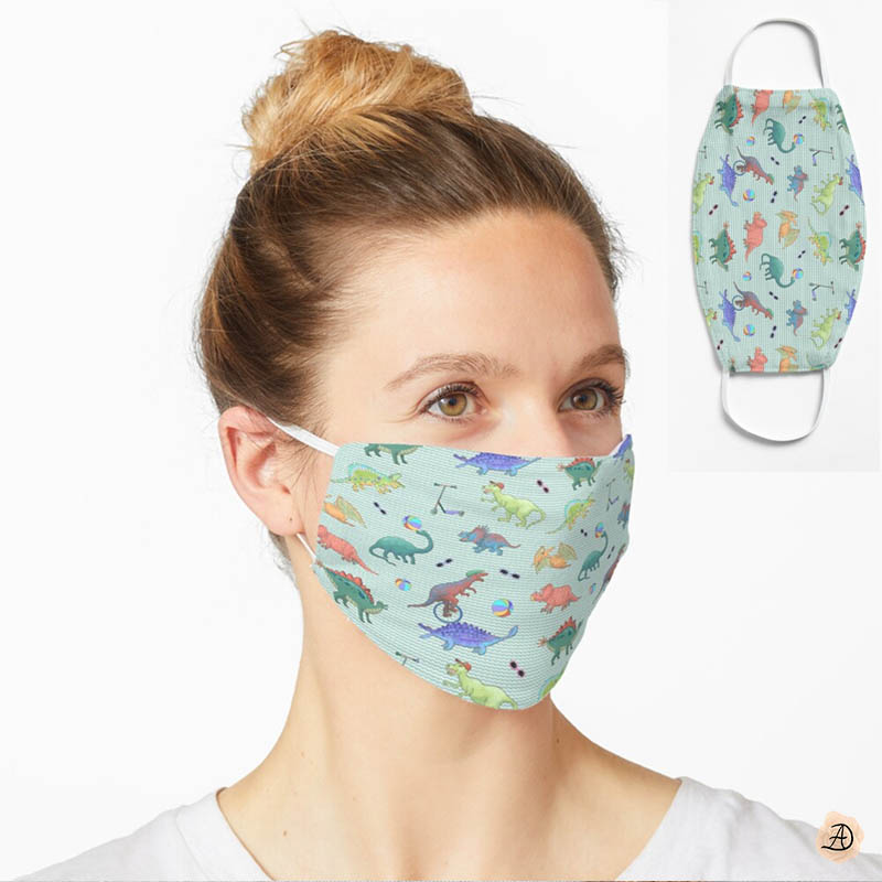 Woman wearing a cute dinosaur face mask