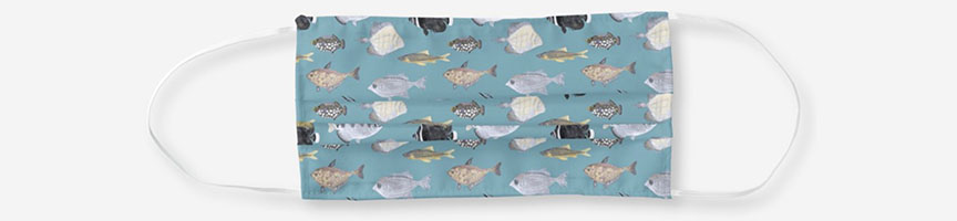 Fish pattern face mask