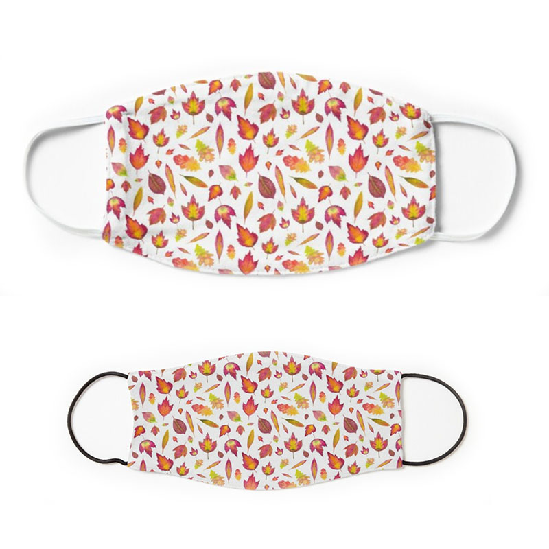Simple autumn oak red leaves pattern on white background face masks