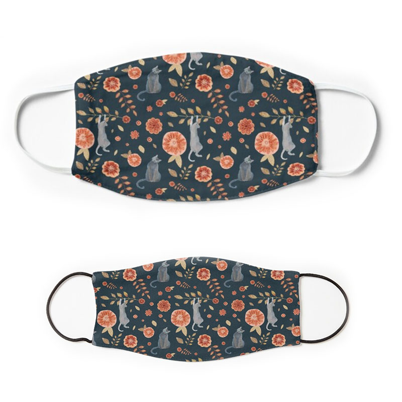 Funny cats and autumn flowers pattern on adult and children's face coverings