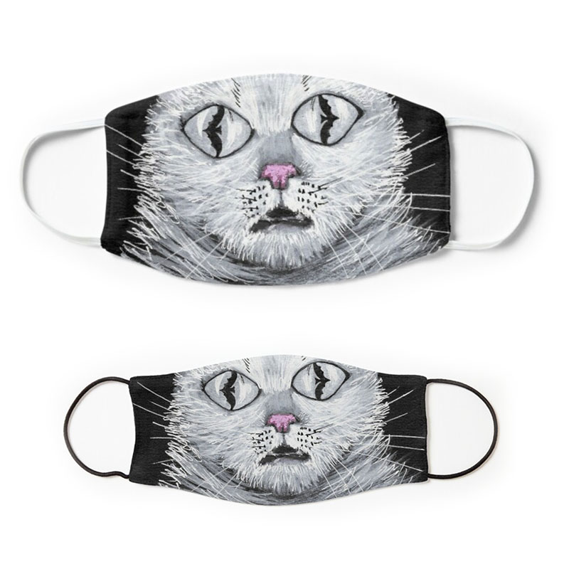 Spooky white Halloween cat with bats reflecting in its eyes printed on face masks