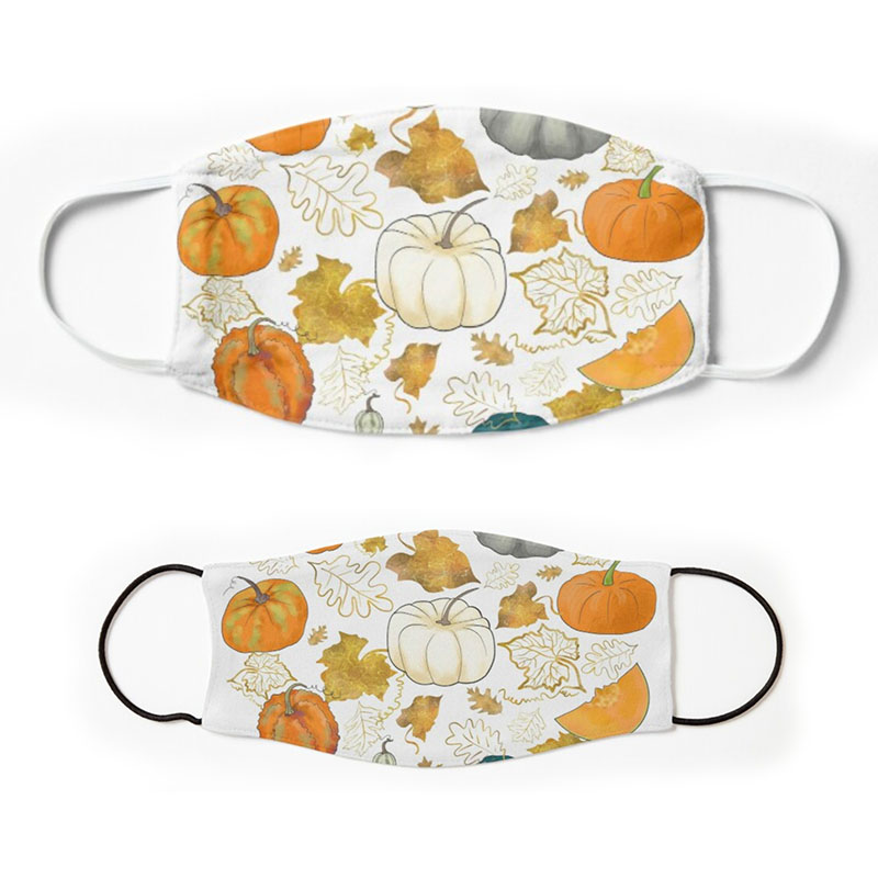 Pumpkin Halloween Cloth Face Masks on white background - for adults and children