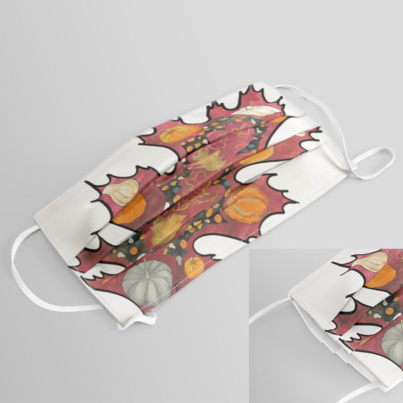 Autumn face mask with printed oak leaf