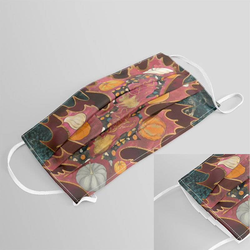 Abstract oak leaf in autumn printed on cloth face covering