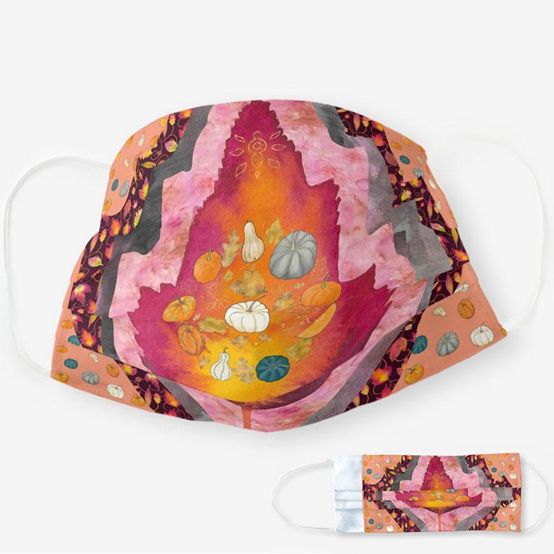 Fall cloth face mask with autumn foliage prints