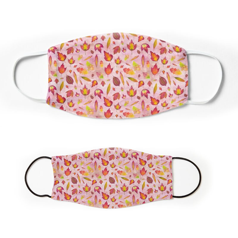 Oak Fall Leaves and foliage pattern on pink background - adult and children cloth face masks