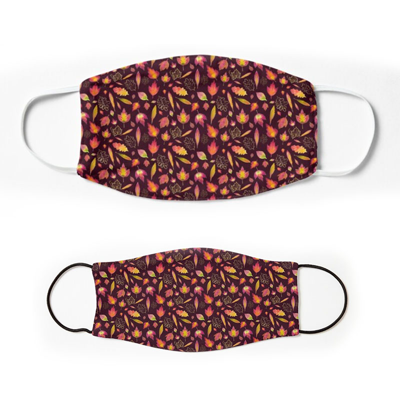 Golden autumn leaf pattern face mask for adults and children