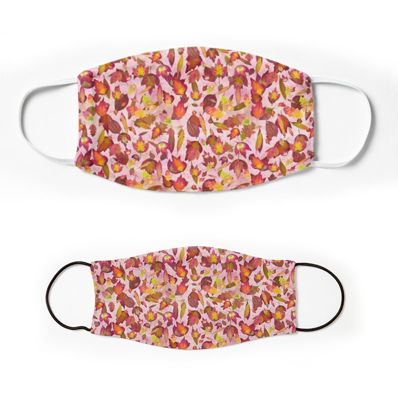 Red Oak Autumn leaves pattern over pink background - face masks for adults and children