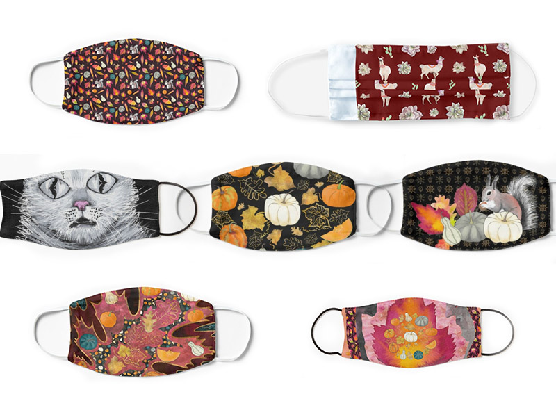 Fall Face masks with rich autumn colors and prints