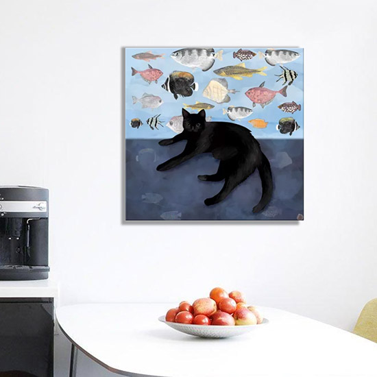 Canvas cat art print on a wall in the kitchen