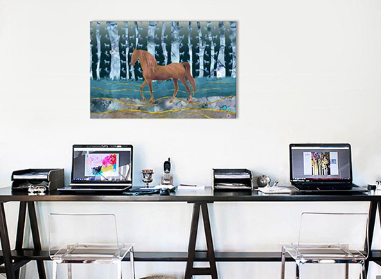 Canvas giclee art print of a horse walking in the woods