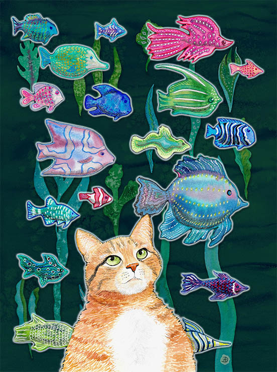 orange tabby cat watching a fish tank, a comic illustration