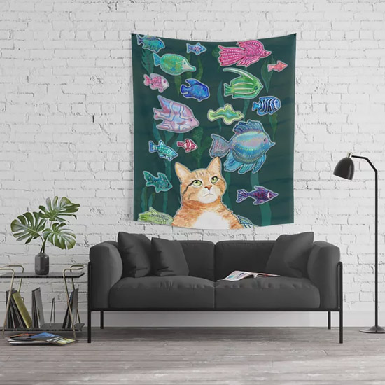 Society6 Cat art print hanging on a wall
