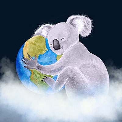 Drawing of a Koala Hugging Earth