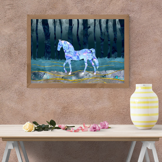 Framed Wall Art depicting a horse in the forest. Art printed by Fine Art America