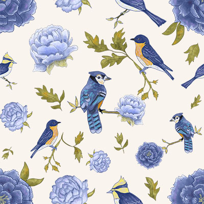 Floral Pattern With Birds and Peonies