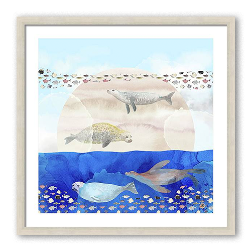 Framed wall art with seals and sea lions
