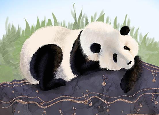 A giant panda bear artwork