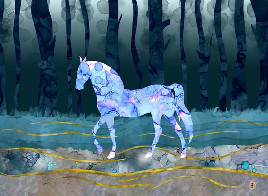 A blue fantastic horse trotting through the woods - fantasy art created in digital media