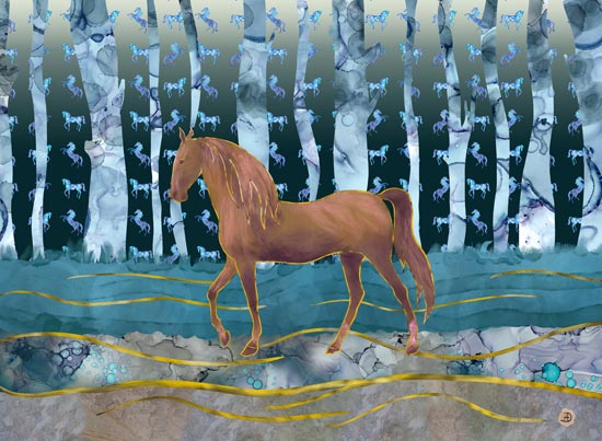 Horse Art depicting a brown horse walking in front of a blue forest
