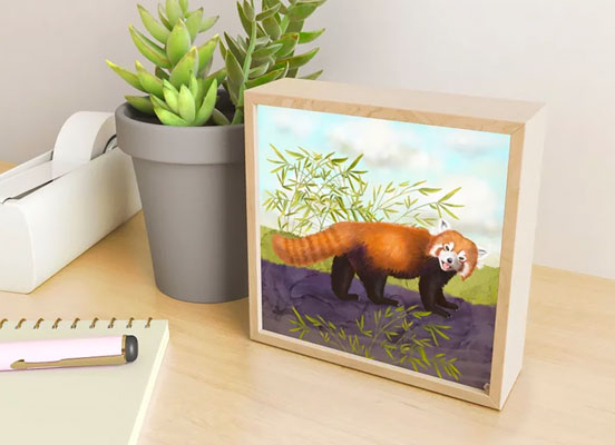 Mini art print with a red panda
