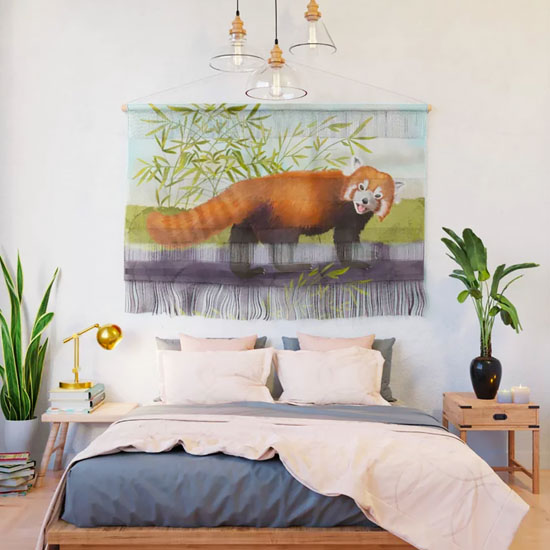 Wall Hanging with a red panda art print