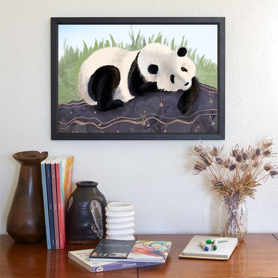 Framed Art with Panda Bear at Society6