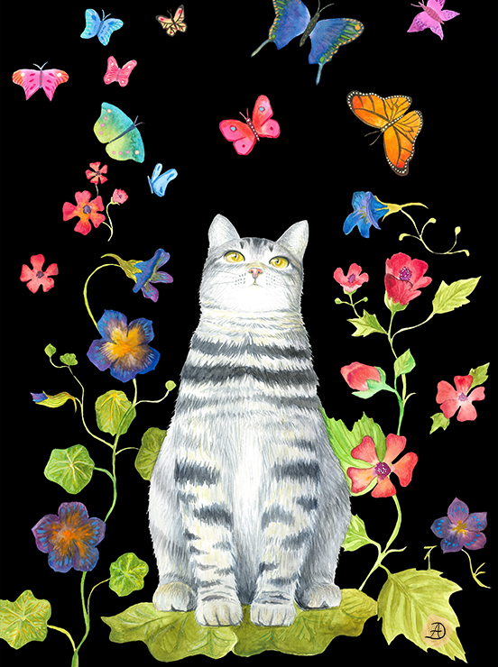 A grey tabby cat looking a colorful butterflies - a nature inspired illustration