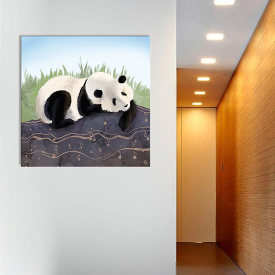 iCanvas wall art print depicting a panda bear
