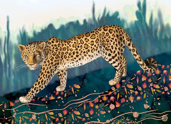 Amur Leopard walking in the autumn woods landscape, Art Print