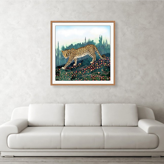 Amur Leopard Framed Art on a wall above couch