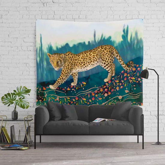 Amur Leopard in the woods - tapestry on wall
