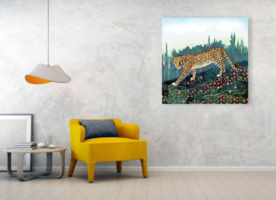 Canvas print on a wall, depicting an amur leopard walking in the woods in the fall