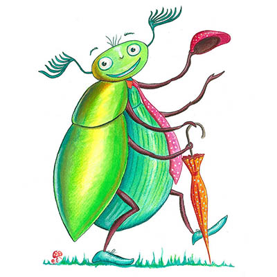 A green beetle illustration for children.