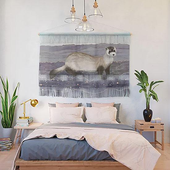 Ferret Wall Tapestry Art