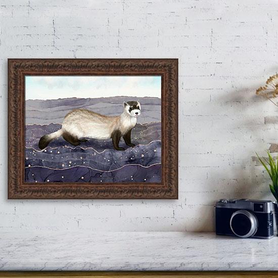 Ferret framed painting from Fine Art America