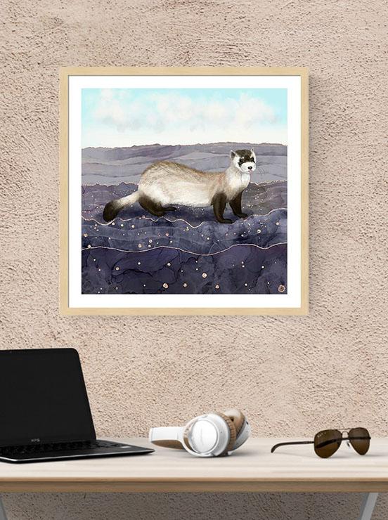 Ferret Framed Wall Art above a computer desk