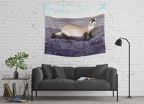 Ferret Wall Tapestry above a couch